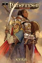 This comic made in collaboration with Dynamite Entertainment recounts the early travels of Kyra the Cleric and Seelah the Paladin.
