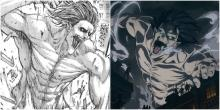 This image features a side by side comparison of a titan in both the manga and anime of AOT