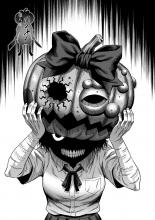A killer is on the loose as she dons the mask of a pumpkin head
