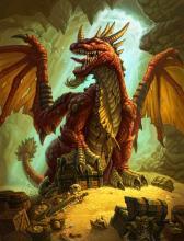 A selfish red dragon guarding his precious treasure.