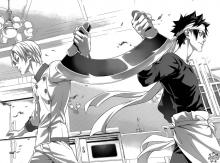 Two chefs hold opposite ends of a crescent bladed knife in Shokugeki No Soma