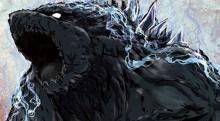 This image features a full color drawing of Godzilla