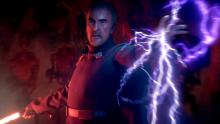 Dooku shows off his power with a dark side lightning attack.