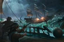 Two ships clash in Sea of Thieves.