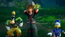 Donald duck and goofy angry meanwhile sora is smilling