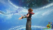 Sora is being approached by the water mermaid