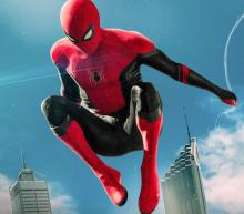 A shot of the Web-Slinger swinging into the fight