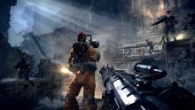 A still of a gunfight in Wolfenstein.