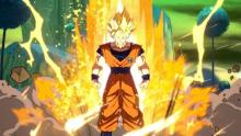 Goku powering up in Dragonball FighterZ
