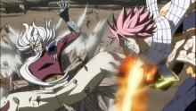 Natsu taking down an enemy