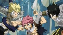 Natsu fighting Rogue and Sting