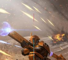 Tau warriors exchange shots in a firefight