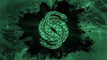 Green snake in black center on green background