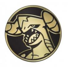 Garchomp is featured in this list, but is it still golden? (Image is of a golden token coin bearing a design of Garchomp's head.)