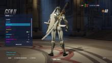 Genji posing with his gold weapons