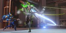Mercy attaches her damage buff staff to Genji using Dragonblade