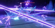 Keqing fighting Cryo Regisvine with her Elemental Burst
