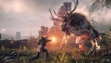 Geralt does battle with a monster.