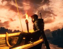 Geralt can still use his torch on a boat.