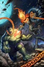 Ghost Rider taking on the likes of the Hulk in battle.