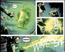 Before Hal Jordan puts the ring on for the first time in Green Lantern Earth One, one of his crew-mates decides to try it out. Things don't go well.