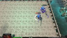 Two gladiators battling to the death in one of the exciting Omniparty mini-games.