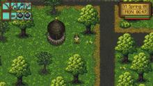 Trees surround a player as he surveys the Gleanor Heights wilds.