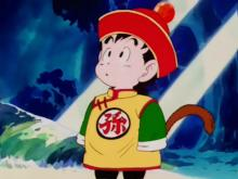 The audience first meets Gohan as a young child wearing a cute-yet-refined outfit, including a hat fitted with the Four-Star Dragon Ball. It really emphasizes his relative innocence and gentleness.