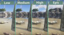 This image compares the graphics on different settings ranging form low to epic in the world of the Ark