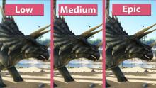 This image compares the graphics of dinosaurs from the settings ranging from low to epic