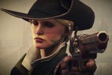 Close up of female De Sarde with pistol Greedfall