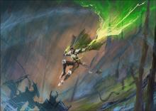 A man with a devilish look flies into battle with green energy dancing and arcing from his blade.