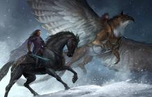 Rider on horseback and a rider on griffin make their way through the freshly fallen snow.