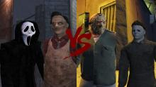 A battle between four horror characters inside mods of GTA 5.