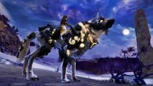 The dog-like jackal mount in GW2 can teleport.