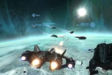 A pitched dogfight from a mission in the Halo: Reach campaign