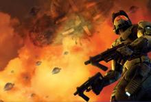 Promotional material for Halo 2 from Bungie depicting Master Chief facing the Covenant invasion of Earth