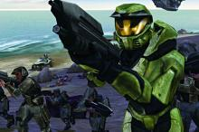 Master Chief and UNSC troopers storming the beach in a Combat Evolved Mission