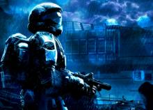 Cover art for Halo 3: ODST depicting the Rookie alone in the nighttime rain of New Mombasa