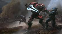 An elite attacking a Spartan in one of Reach's menu images