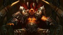 Sitting on a throne, Garrosh commands his minions with strength and vigor.