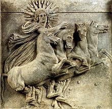 Helios rides his chariot across the sky every day bringing light to the heavens.