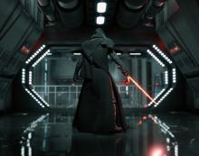 Soldiers quake in their boots as Kylo Ren enters the battle.