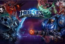 One of the many startscreens of Heroes of the Storm, featuring a stand-off between Diablo, Arthas, Illidan, Tychus, Chen and Nazeebo.