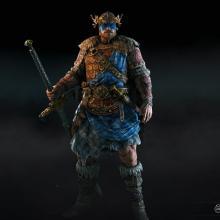 A Highlander wearing a very regal helmet ornament