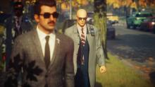 Agent 47 follows a mark figuring out the best time to strike