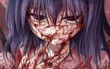 Horror Anime babe with her face covered in blood