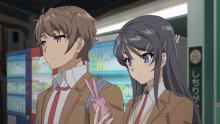 Sakuta and Mai standing together