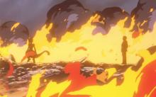 Giovanni confronts Mewtwo after the lab is destroyed.