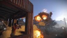 Patrol heli doing a rocket run on a base shooting at it.